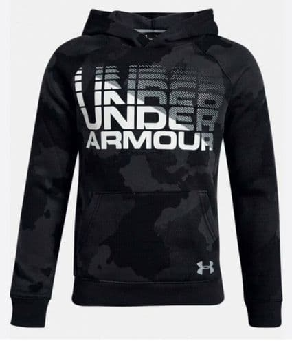 Under Armour Junior Boys Rival Wordmark Camo Youth Hooded Track Top 1318222